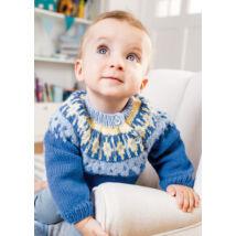 norvégmintás kézzel kötött kisfiú babapulóver