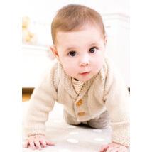 kézzel kötött sálgalléros baba kardigán kisfiúknak