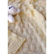 magába mintás kockás kötött babatakaró baby smiles cotton fonalból kötve