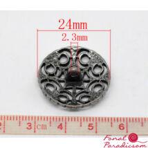 Antikolt ezüst, fekete, dísz gomb 24 mm