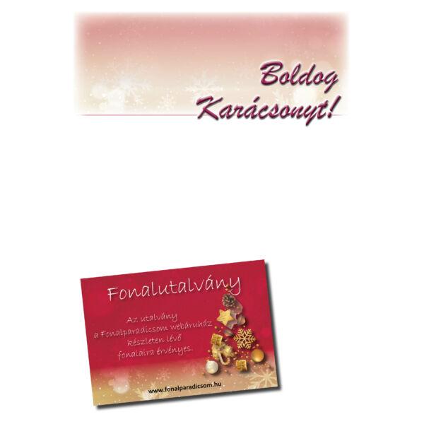 Karácsonyi fonalutalvány  egyedi értékkel levélpapír, letölthető