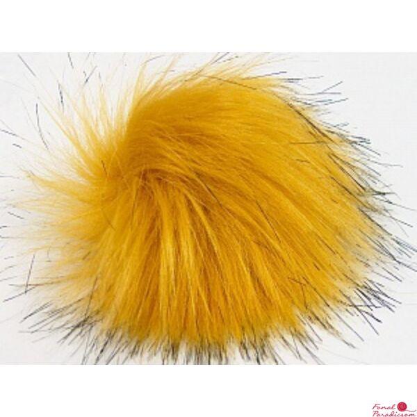 Pompom Faux Fur aranysárga- fekete cirmos 1153