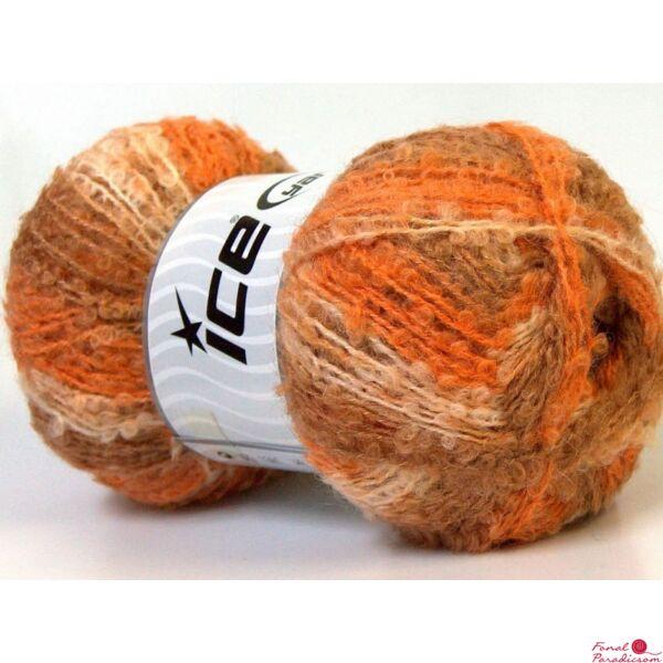 Boucle Mohair Light narancssárga, krém, barna