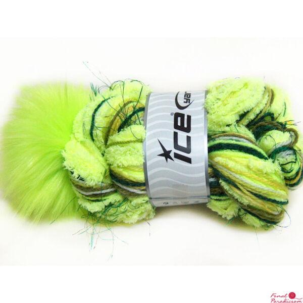 Nancy Hat neon zöld, sötét zöld, fehér, zöld pomponnal