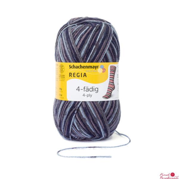 Regia color zoknifonal 100 g szürke- fehér-kék mintás 07709